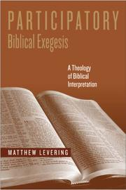 Cover of: Participatory Biblical Exegesis | Matthew Levering