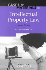 Cover of: Cases and Materials in Intellectual Property Law | David Bainbridge