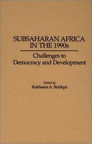 Cover of: Subsaharan Africa in the 1990s | edited by Rukhsana A. Siddiqui.