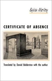 Cover of: Certificate of absence | Sylvia Molloy