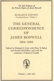 Cover of: The general correspondence of James Boswell, 1766-1769 |