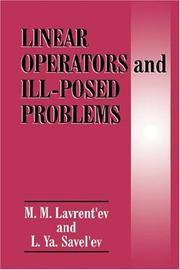 Cover of: Linear operators and ill-posed problems