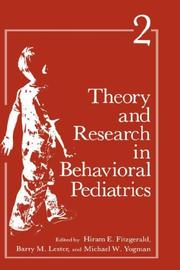 Cover of: Theory and Research in Behavioral Pediatrics |