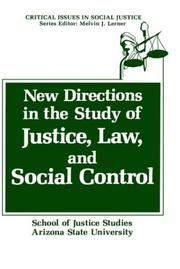 Cover of: New directions in the study of justice, law, and social control |