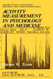 Cover of: Activity measurement in psychology and  medicine