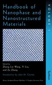 Cover of: Handbook of Nanophase and Nanostructured Materials Vol. 1  | Zhong Lin Wang