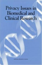 Cover of: Privacy issues in biomedical and clinical research |