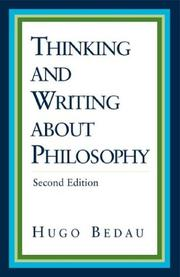 Cover of: Thinking and Writing about Philosophy