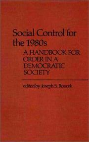Cover of: Social Control for the 1980s | Joseph S. Roucek