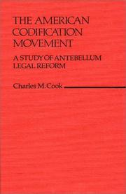 Cover of: American codification movement | Charles M. Cook