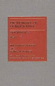 Cover of: Dictionary of Demography/Biographies: 2 Vols