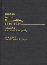 Cover of: Blacks in the humanities, 1750-1984