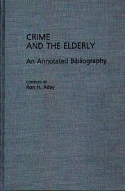 Cover of: Crime and the elderly