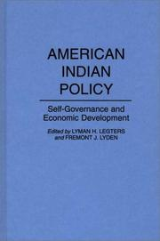 Cover of: American Indian Policy |