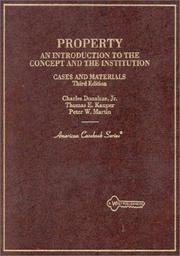Cover of: Cases and materials on property | Charles Donahue