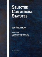 Cover of: Selected Commercial Statutes, 2003 (Selected Commercial Statutes) |