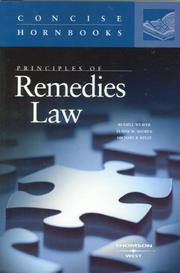 Cover of: Principles of Remedies Law (Concise Hornbook Series) (Concise Hornbook) (Concise Hornbook) | Russell L. Weaver