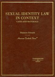 Cover of: Sexual Identity Law in Context, Cases and Materials