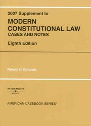 Cover of: Modern Constitutional Law, 8th, 2007 Supplement