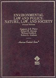 Cover of: Environmental Law and Policy | Zygmunt J. B. Plater