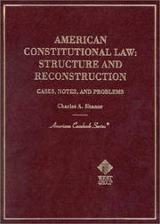Cover of: American constitutional law | Charles A. Shanor