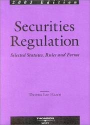 Cover of: Securities Regulation Selected Statutes, Rules and Forms, 2003