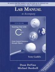Cover of: Lab Manual to Accompany Starting Out with C++ | Tony Gaddis