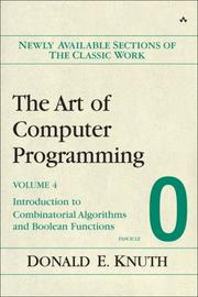 Cover of: The Art of Computer Programming, Volume 4, Fascicle 0: Introduction to Combinatorial Algorithms and Boolean Functions