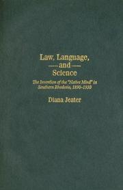 Law, Language, and Science by Diana Jeater