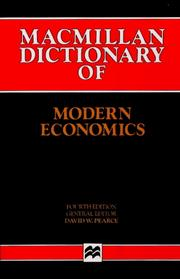 Cover of: Macmillan dictionary of modern economics