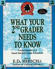 Cover of: WHAT YOUR SECOND GRADER NEEDS TO KNOW