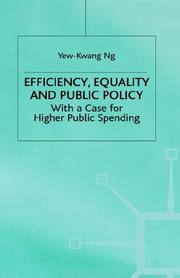 Cover of: Efficiency, Equality and Public Policy: With a Case for Higher Public Spending