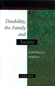 Cover of: Disability, The Family And Society | Janet Read