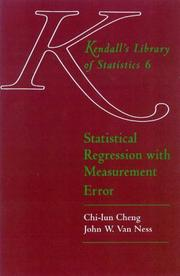Cover of: Statistical regression with measurement error