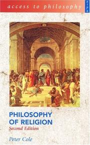 Cover of: Philosophy of Religion (Access to Philosophy) | Peter Cole