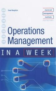 Cover of: Operations Management in a Week (In a Week) | Sean Naughton