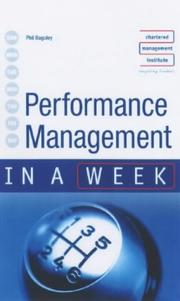 Cover of: Performance Management in a Week (In a Week) | Phil Baguley