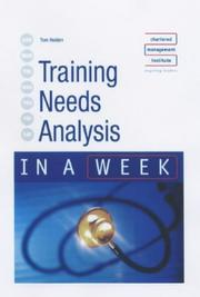 Cover of: Training Needs Analysis in a Week (In a Week) | Tom Holden