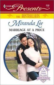 Cover of: Marriage At A Price (The Australians) (Harelequin Presents, No 2181) | Miranda Lee