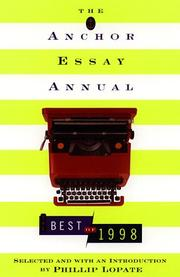 Cover of: The Anchor Essay Annual | Phillip Lopate