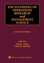 Cover of: Encyclopedia of Operations Research and Management Science |