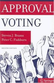 Cover of: Approval voting |