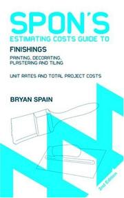Cover of: Spon's Estimating Costs Guide to Finishings