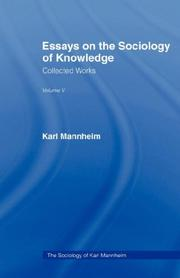 Cover of: ESSAYS SOCIOLOGY KNOWLEDGE V 5