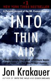 Cover of: Into Thin Air: a personal account of the Mount Everest disaster