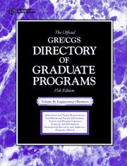 Cover of: The Official Gre Cgs Directory of Graduate Programs