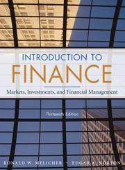 Cover of: Introduction to Finance | Ronald W. Melicher