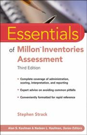 Cover of: Essentials of Millon Inventories Assessment (Essentials of Psychological Assessment) | Stephen, Ph.D. Strack