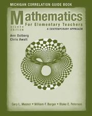 Cover of: Mathematics for Elementary Teachers, Michigan Correlation Guide Book | Gary L. Musser