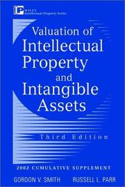 Cover of: Valuation of Intellectual Property and Intangible Assets, 2002 Cumulative Supplement | Gordon V. Smith